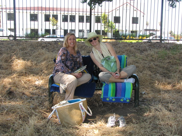jen and erin sharing a bench The SCBWI South Bay Midsummer Schmooze