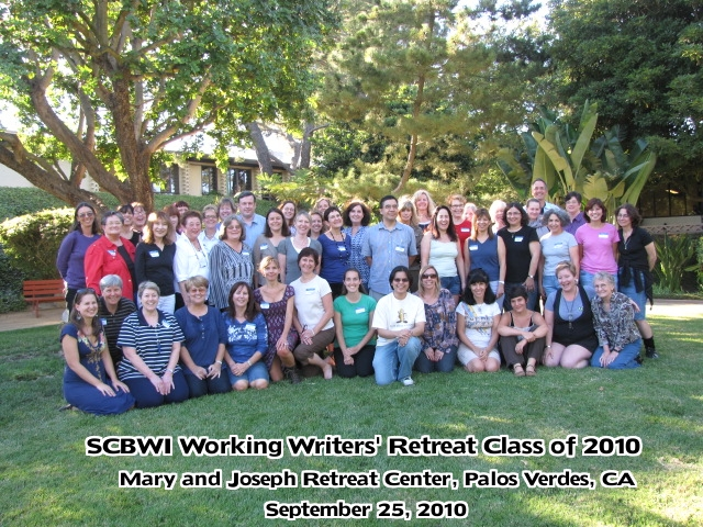 group shot with text The SCBWI LA Working Writers Retreat   Mining Your Manuscripts