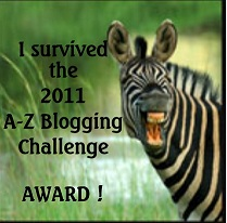 6 A Z Blogging challenge Award elizabeth mueller Blog Awards