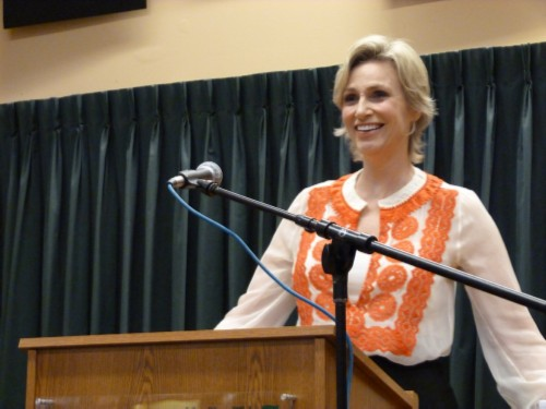 jane lynch smiling by lena Jane Lynch Signs Happy Accidents at Vroman's