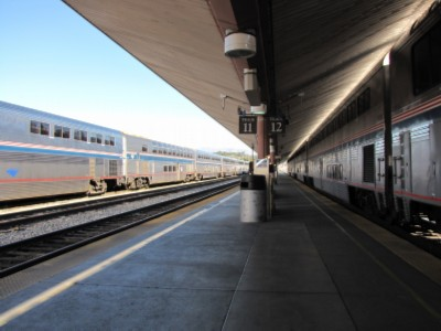 trains at the union station L.A. Tour Day 3: El Pueblo, Little Tokyo