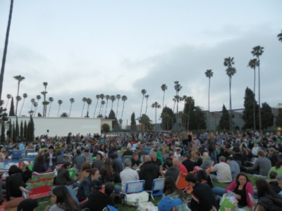 crowd and wall Movies at the—Cemetery?!