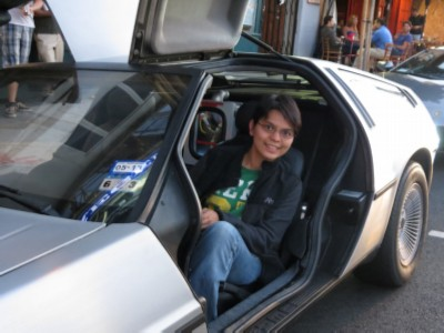 drivers seat de lorean Back to the Future with Author/Fanboy Ernest Cline