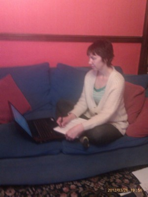 Me writing modified Wednesday Writer's Workspace Welcomes Annalisa Crawford