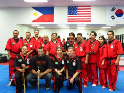 Torrance group with the masters Doce Pares Martial Art Belt Test & Training Seminar