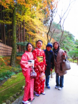 with kimono girls  Kyoto, Japan: Silver and Golden Temples